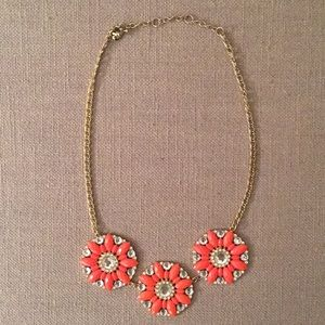 J. Crew Statement Necklace with Coral Medallions